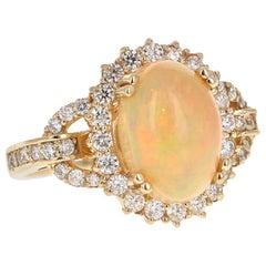 4.41 Carat Opal Diamond 14 Karat Yellow Gold Cluster Ring
