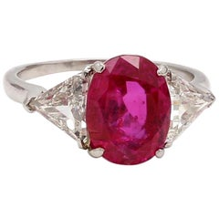 4.41 Carat Oval Cut, Burma, No Heat, Pinkish Red Ruby Ring, AGL Certified