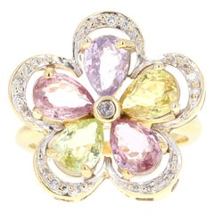 4.41 Carat Sapphire Diamond 18 Karat Yellow Gold Ring