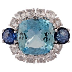 4.42 Carat Aquamarine, Blue Sapphire & Diamond Ring Studded in 18k White Gold