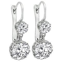 3.83 Carat Diamond Platinum Earrings