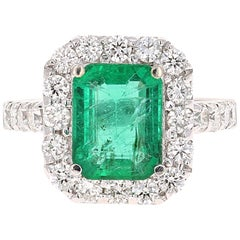4.42 Carat Emerald Diamond White Gold Engagement Ring