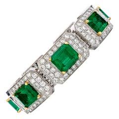 44.20 Carat Colombian Emerald and Diamond 18 Karat Gold Bracelet
