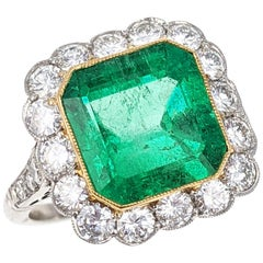 4.43 Carat Colombian Emerald Diamond Halo Platinum Ring