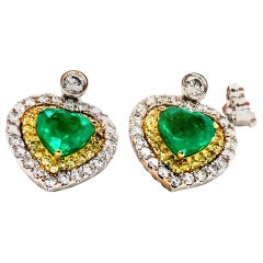 4.43 Carat Emerald and Diamond 18 Karat Gold Pair of Heart Earrings