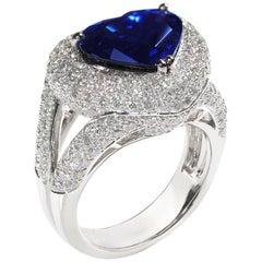 4.43 Carat Heart Blue Sapphire Diamond Solitaire Ring