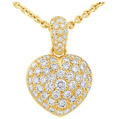4.43 Carat Micro-Pavé Diamond Heart Pendant Necklace