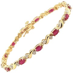4.43 Carat Natural Diamond and Ruby Bracelet G-H SI 14 Karat Yellow Gold