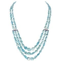 443.57 Carat Aquamarine Multi-Strand Necklace with Sapphire, Diamond, Platinum