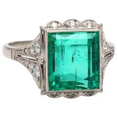 4.44 Carat Emerald Cut, Columbian Emerald Ring, AGL Certified