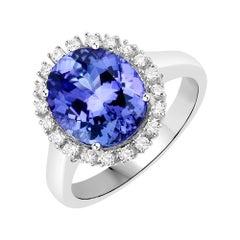 4.44 Carat Genuine Tanzanite and White Diamond 14 Karat White Gold Ring