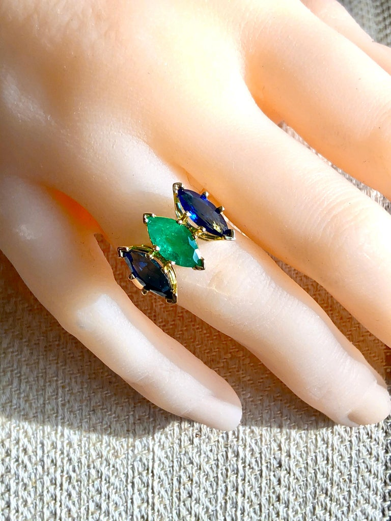 4.44 Carat Marquise Cut Ceylon Sapphire and Colombian Emerald Ring 18 Karat In New Condition For Sale In Brunswick, ME