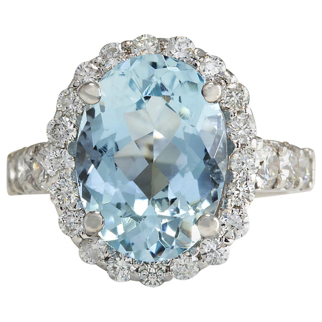 4.44 Carat Natural Aquamarine 18 Karat White Gold Diamond Ring