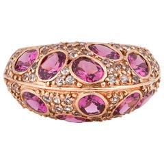 4.44 Carat Rhodolite and White Sapphire Ring in 14 Karat Rose Gold