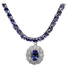 44.40 Carat Natural Tanzanite and Diamond 14 Karat Solid White Gold Necklace