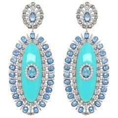 44.41 Carat Agate Blue Sapphire Diamond 18 Karat White Gold Earrings