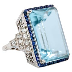 AGL Cert 44.41 Carat Emerald Cut Aquamarine Ring, French Cut Sapphires, Diamonds