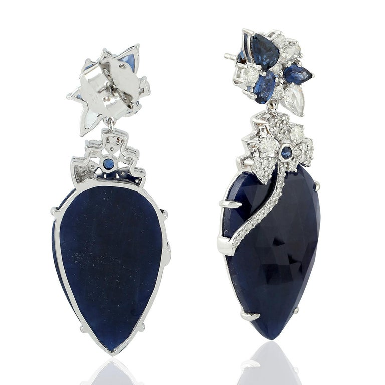 Contemporary 44.43 Carat Blue Sapphire Diamond 18 Karat Gold Earrings For Sale