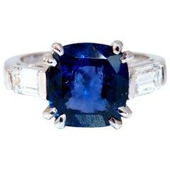 4.44 Carat GIA Certified Natural Color Change Blue Sapphire Ring 18 Karat