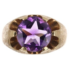 4.44cts 14K Natural Round Amethyst Solitaire Gold Ring