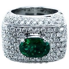 Emerald 4.45 Carat Diamond Cocktail Ring