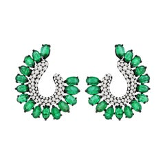 4.45 Carat Emerald Diamond 18 Karat Gold Earrings