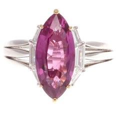 4.45 Carat No Heat Pinkish-Purple Sapphire Diamond Platinum Ring