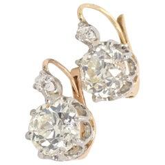 4.45 Carat Old European Cut Diamond Dormeuse Drop Earrings