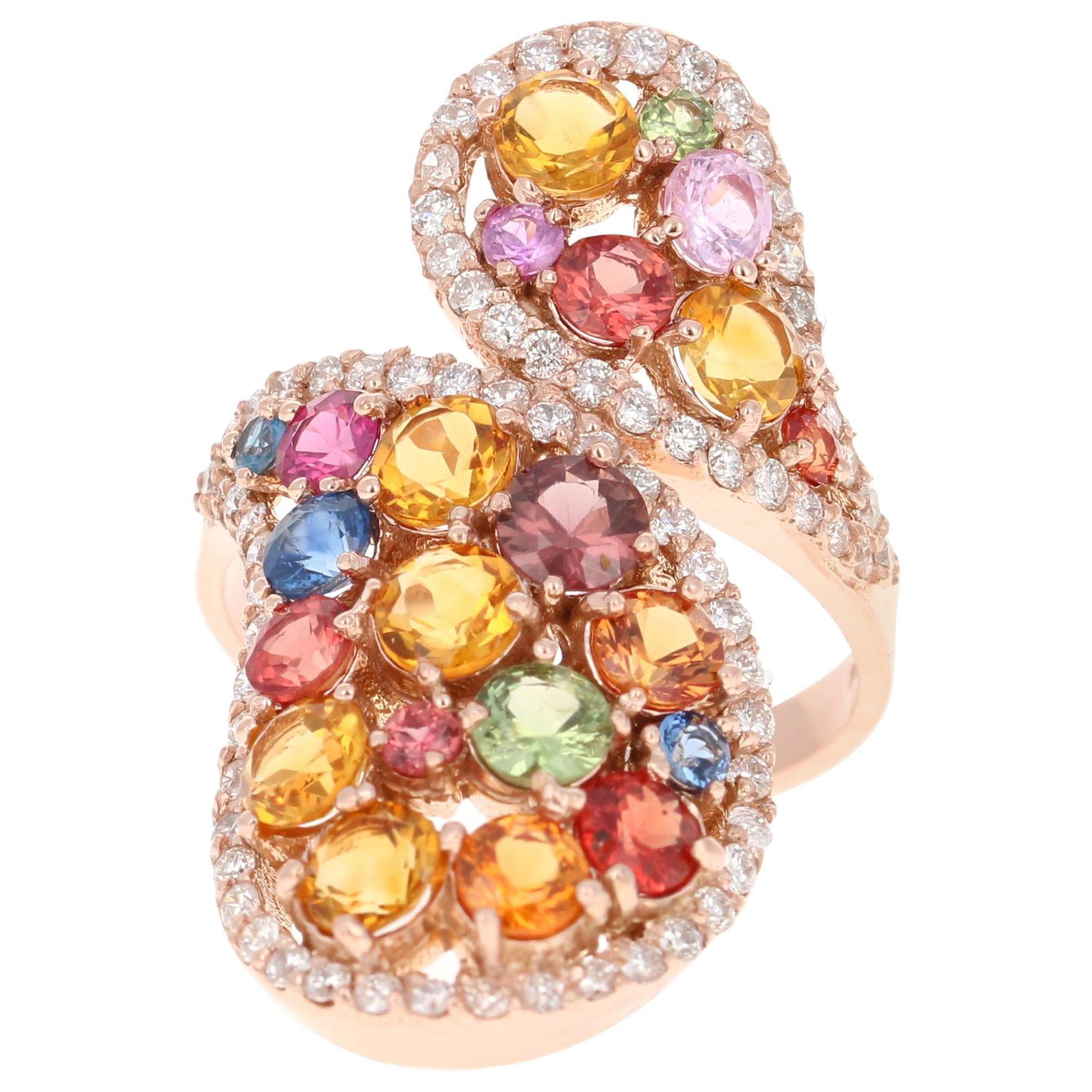 4.45 Carat Sapphire Topaz Diamond 14 Karat Rose Gold Cocktail Ring