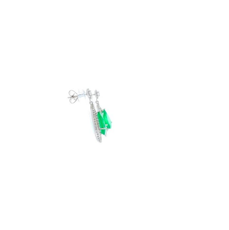 Pear Cut 4.45 Carat Total Pear Shape Emerald and Diamond Earrings in 18 Karat White Gold For Sale
