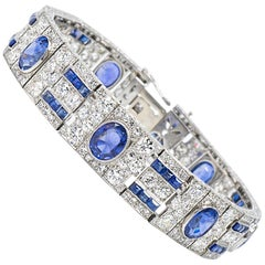 44.50 Carat Sapphire and Diamond Art Deco Bracelet in Platinum