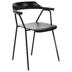 4455 Dining Chair with Metal Frame, Solid Oak Backrest and Black Plywood Seat