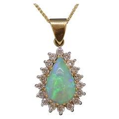 4.45ct Pear Shape Opal & Diamond Cluster Pendant 18 Karat Yellow and White Gold