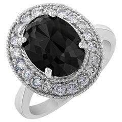 4.46 Carat Black Diamond White Gold Cocktail Ring