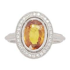 4.46 Carat Orange Sapphire and Diamond Ring Set in Custom 14 Karat Gold Setting