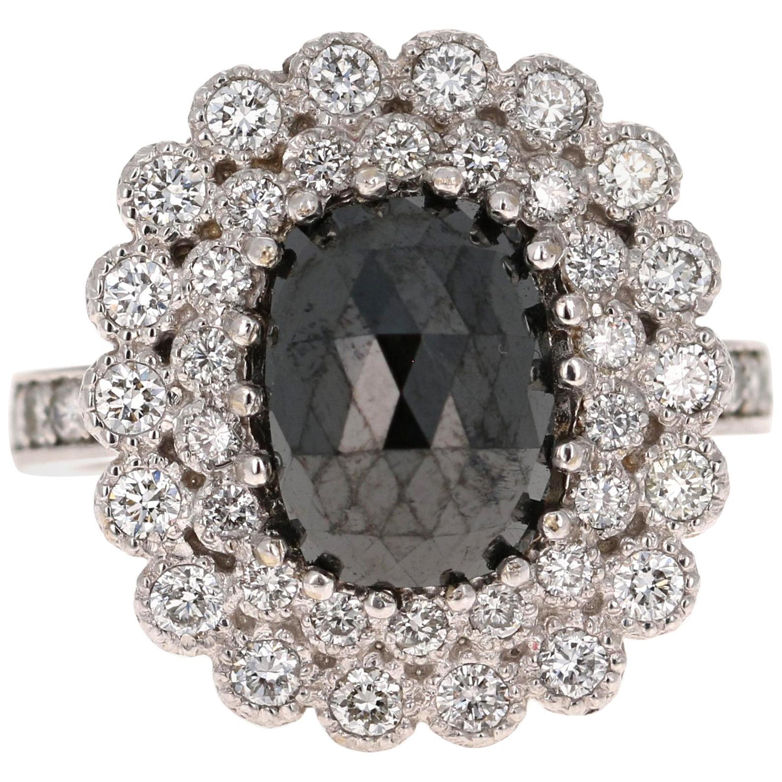 4.46 Carat Oval Cut Black Diamond 14 Karat White Gold Engagement Ring