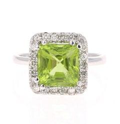 4.46 Carat Peridot Diamond 14 Karat White Gold Ring