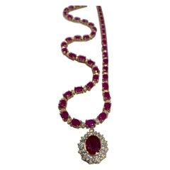 44.60 Ctw Ruby 18k Yellow Gold Diamond Necklace