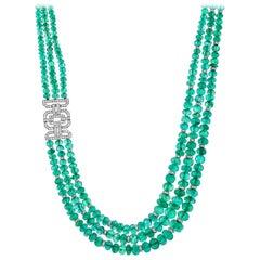 446.85 Carat Zambian Emerald and Diamond Triple Strand Necklace
