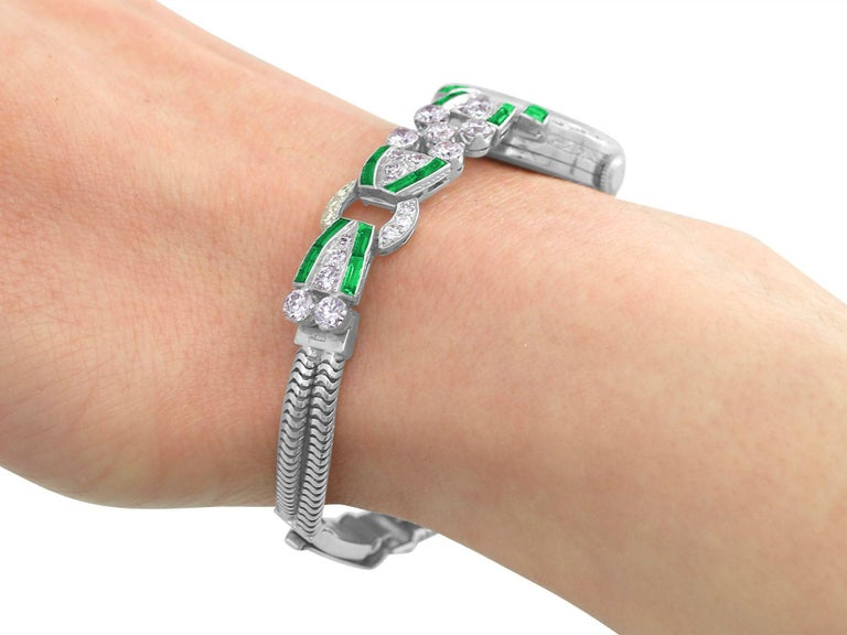 4.46ct Diamond and 1.61Ct Emerald Cocktail Watch in Platinum Circa 1953 4