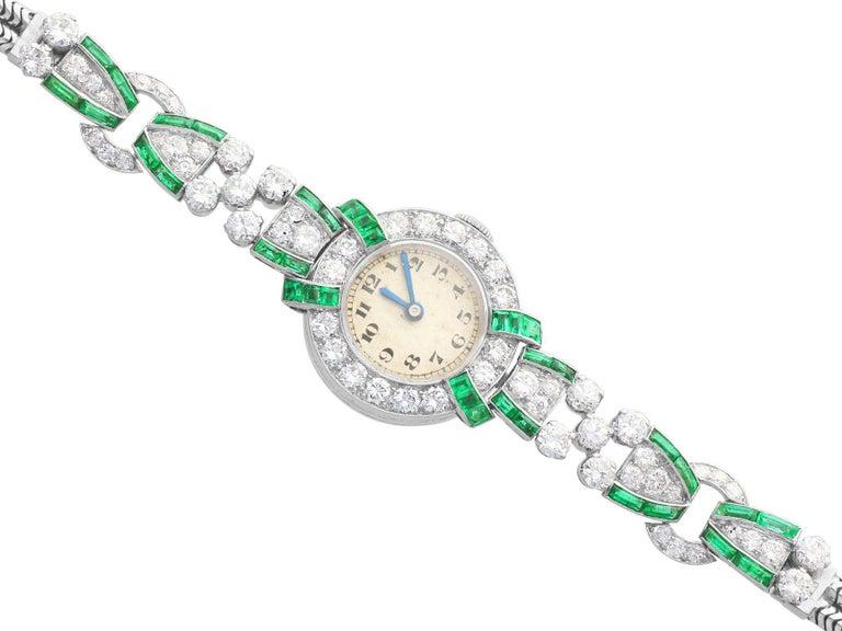 Art Deco 4.46ct Diamond and 1.61Ct Emerald Cocktail Watch in Platinum Circa 1953