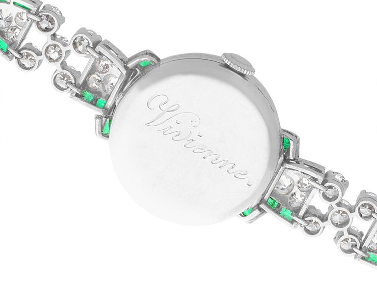 Women's or Men's 4.46ct Diamond and 1.61Ct Emerald Cocktail Watch in Platinum Circa 1953