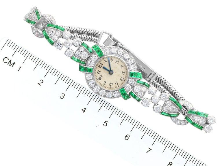 4.46ct Diamond and 1.61Ct Emerald Cocktail Watch in Platinum Circa 1953 2