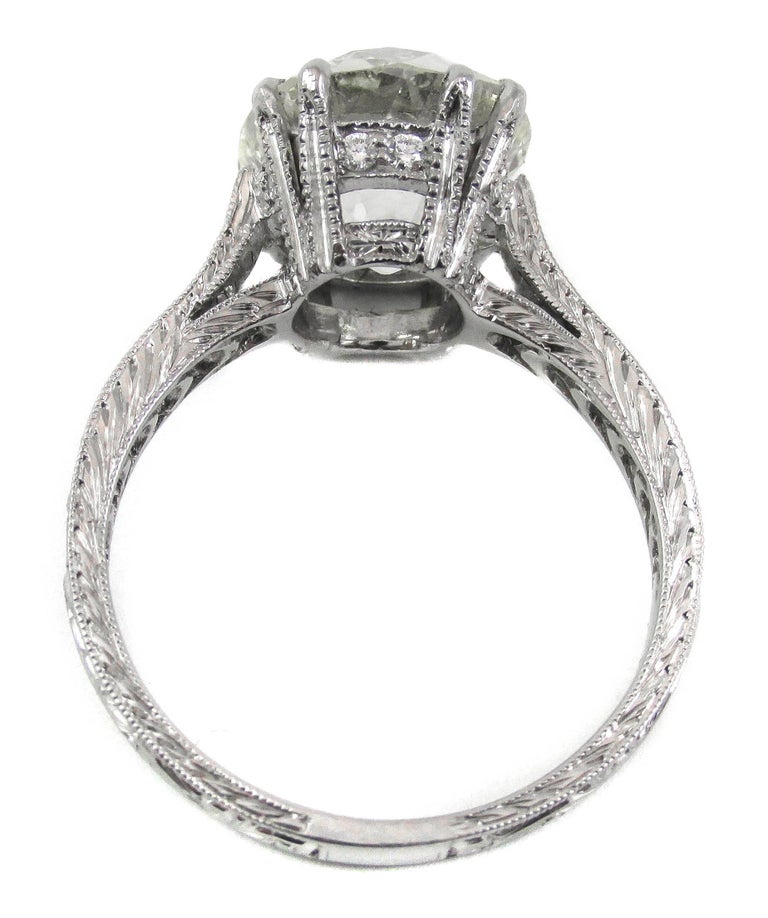 Contemporary 4.47 Carat Antique Cushion Diamond Platinum Engagement Ring For Sale