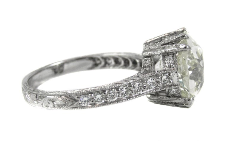 Cushion Cut 4.47 Carat Antique Cushion Diamond Platinum Engagement Ring For Sale