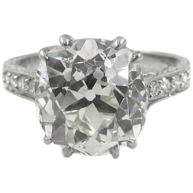 4.47 Carat Antique Cushion Diamond Platinum Engagement Ring For Sale