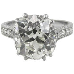 4.47 Carat Antique Cushion Diamond Platinum Engagement Ring