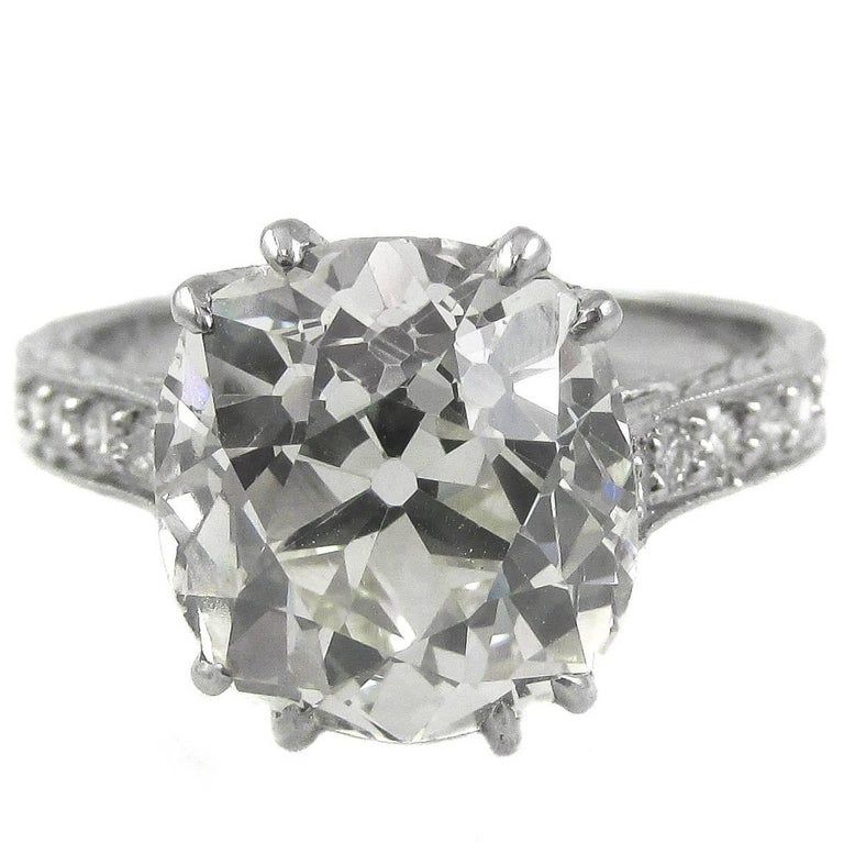 4.47 Carat Antique Cushion Diamond Platinum Engagement Ring For Sale