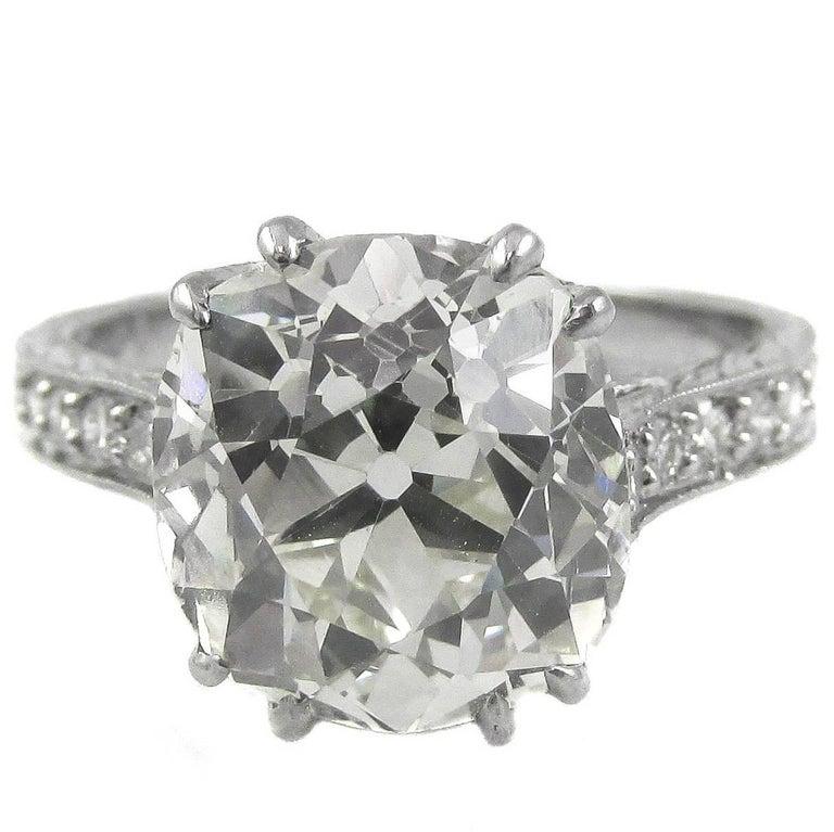 4.47 Carat Antique Cushion Diamond Platinum Engagement Ring