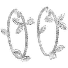 4.47 Carat Fancy Shape Diamond Hoop Earrings in 18 Karat White Gold